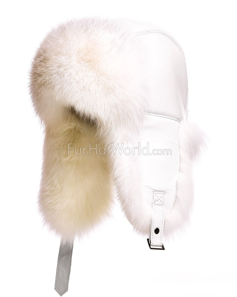 The St.Moritz White Fox Fur Trapper Hat