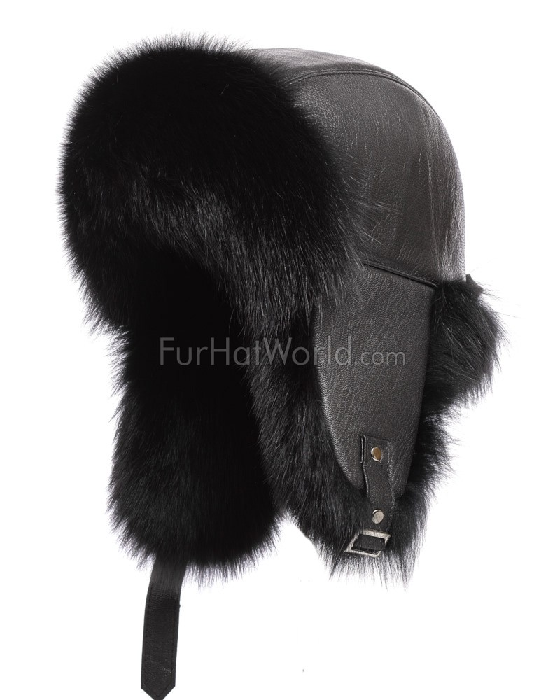 The St.Moritz Black Fox Fur Trapper Hat