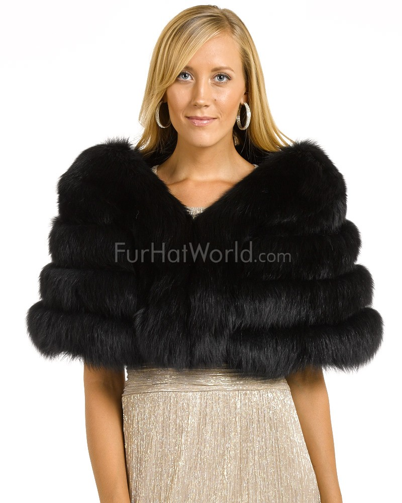 7af148db4cf5a The Fiona Black Four Tier Fox Fur Stole Special