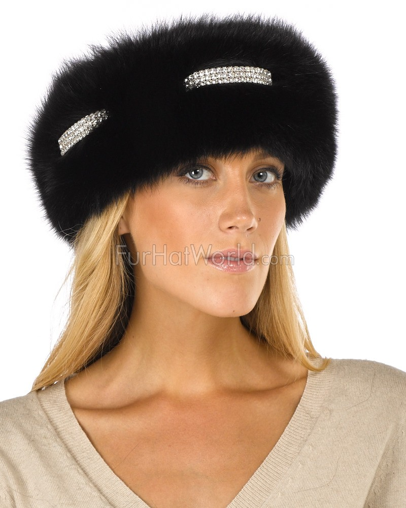 Fox Fur Diamond Rhinestone Headband - Black