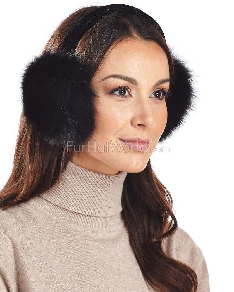 Fox Fur Earmuffs with Velvet band in Black