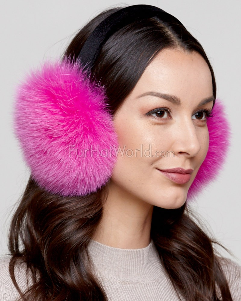 Fox Fur Earmuffs with Velvet Band in Hot Pink