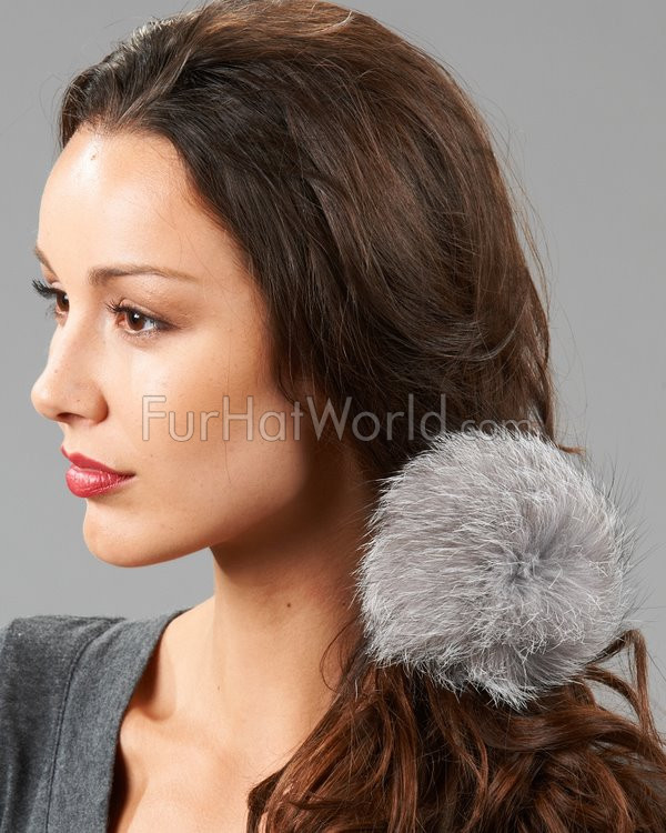 Fox Fur Elastic Hair Band - Silver Indigo