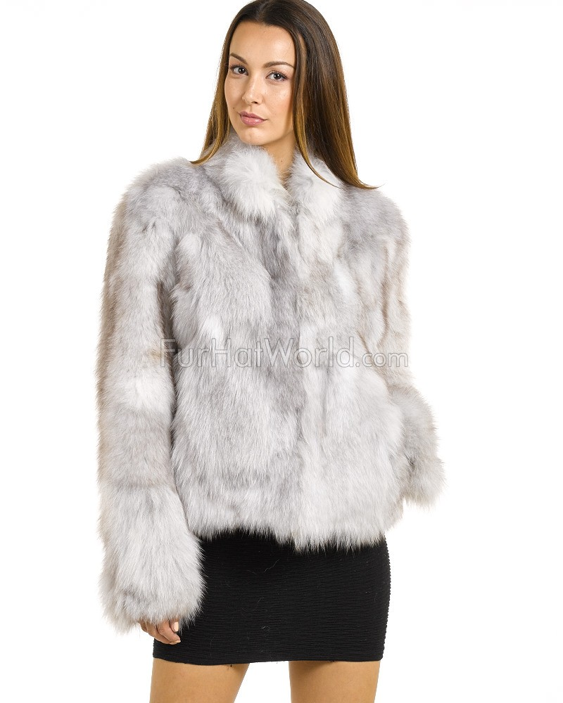 The Melodie Blue Fox Fur Bomber