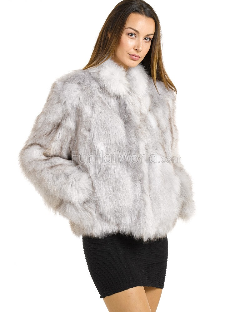 The Melodie Blue Fox Fur Bomber: FurHatWorld.com