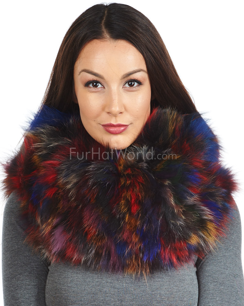 The Zoey Multicolored Knitted Fox Fur Cowl