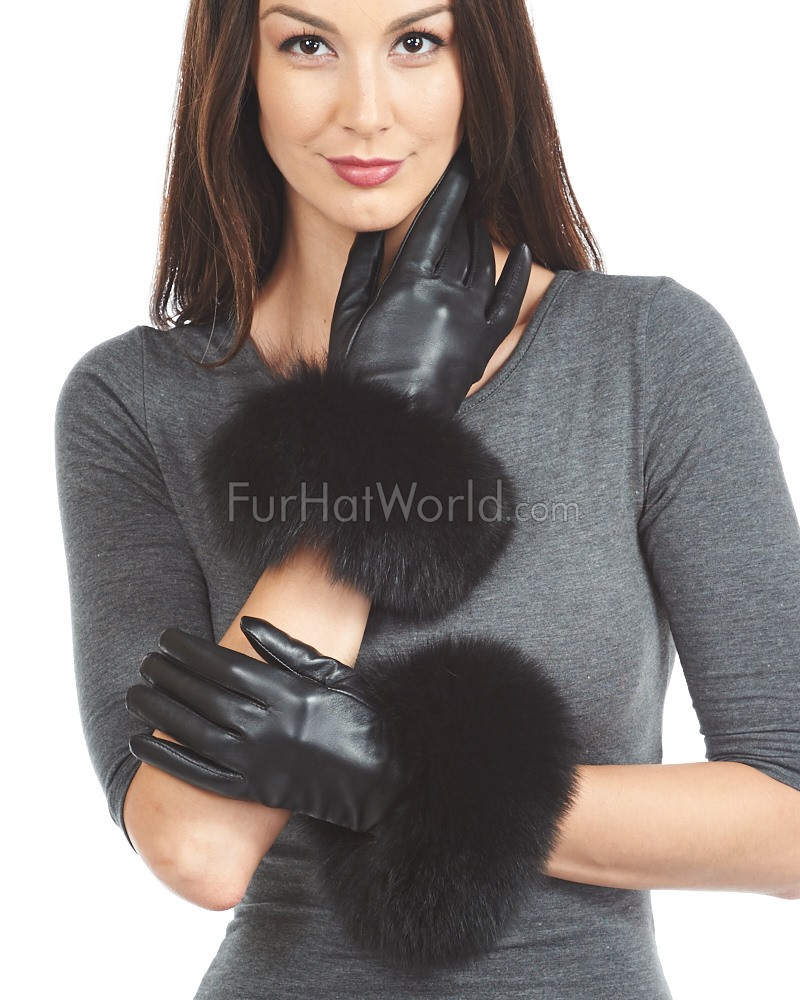Fox Fur Trim Leather Gloves - Cashmere Lined