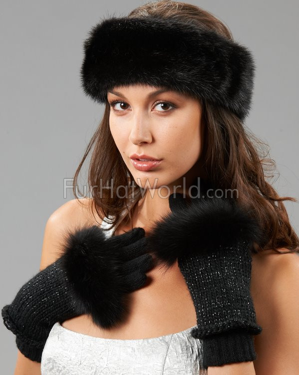 3 In 1 Fox Fur Trimmed Gloves