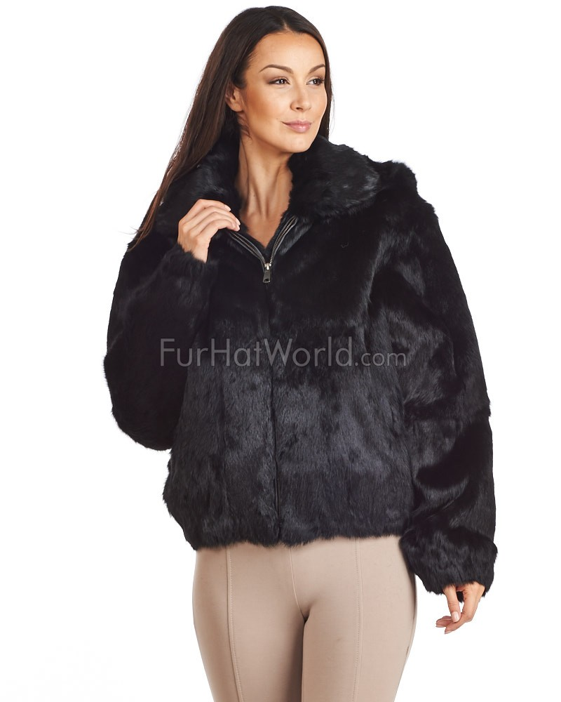 Frances Black Rabbit Fur Bomber Jacket with Hood: FurHatWorld