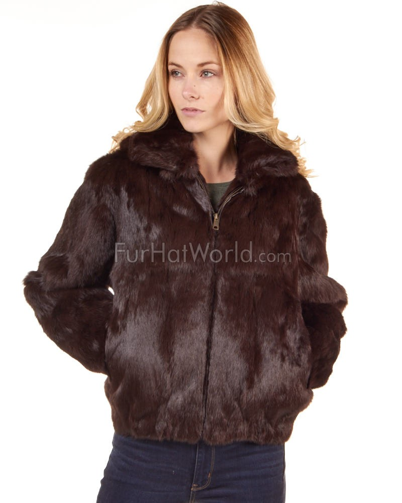 Frances Brown Rabbit Fur Bomber Jacket with Hood