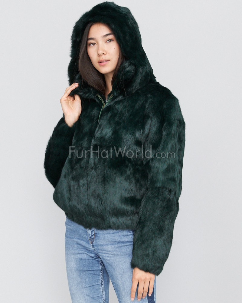 Frances Evergreen Rabbit Fur Bomber Jacket with Hood