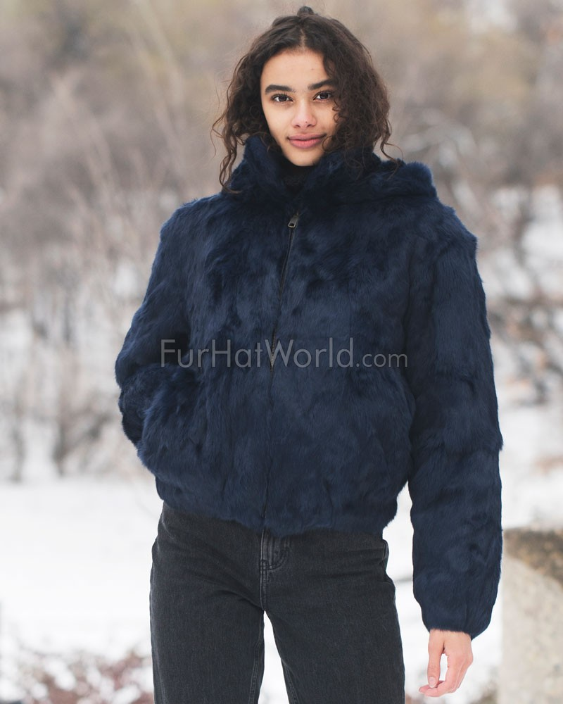 Frances Navy Rabbit Fur Bomber Jacket with Hood