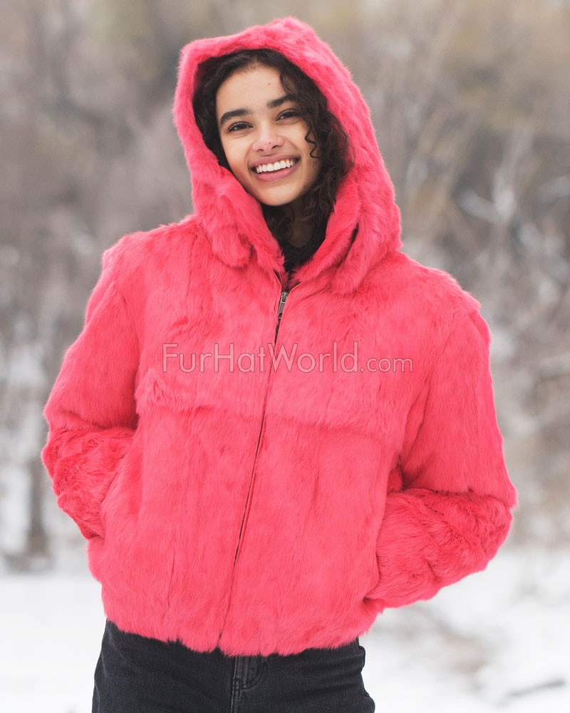 Frances Pink Rabbit Fur Bomber Jacket with Hood