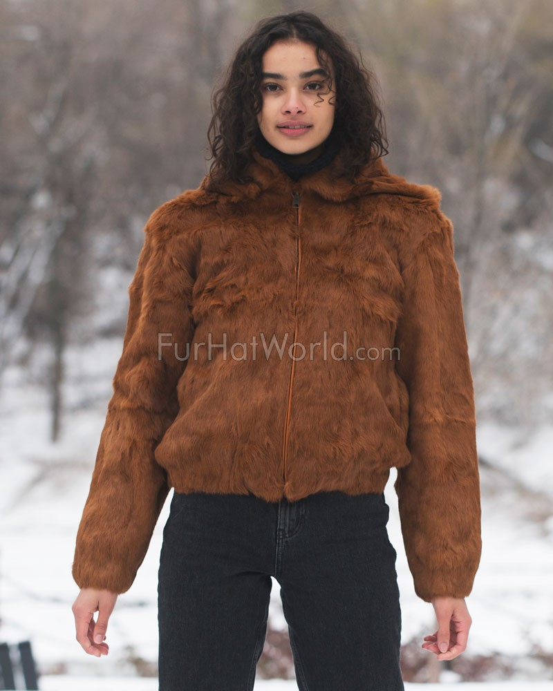 Frances Whiskey Rabbit Fur Bomber Jacket with Hood