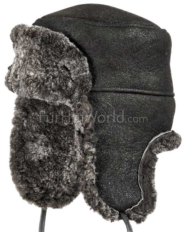 Frosted Black Shearling Sheepskin Russian Hat