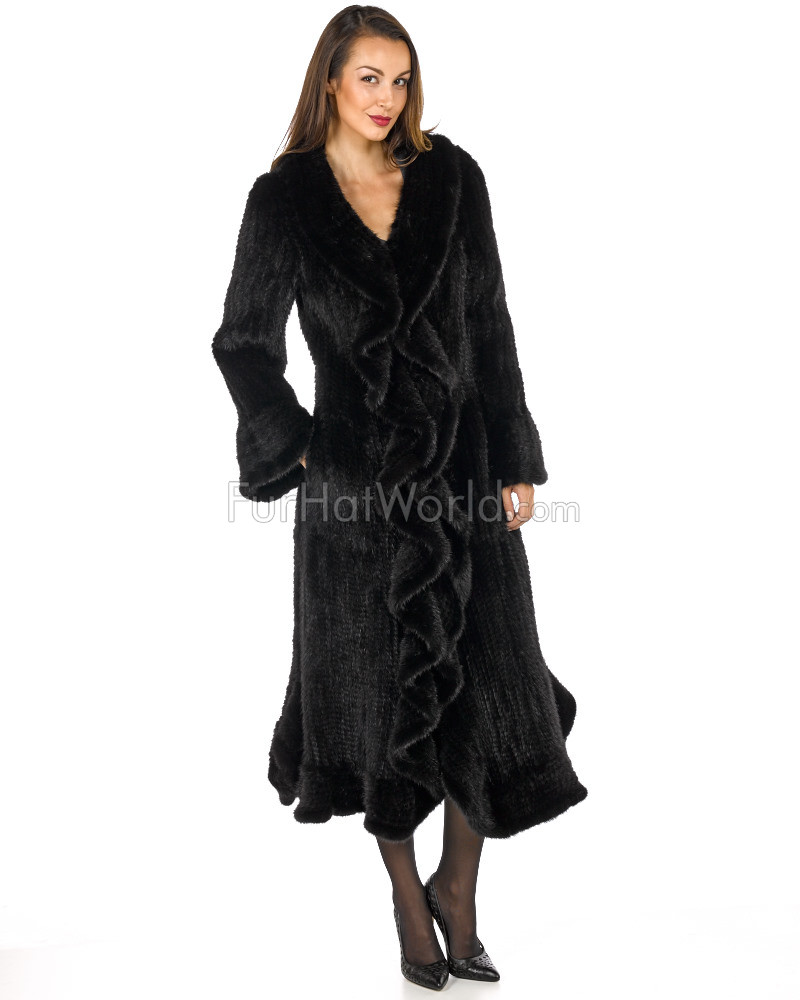 Full Length Knit Mink Coat with Ruffle - Black