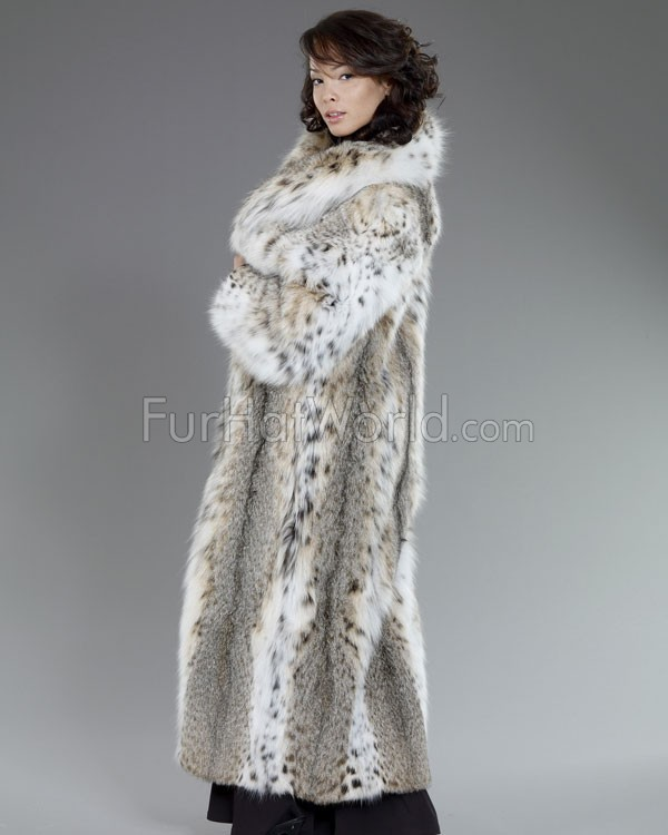 Women's Natasha Full Length Lynx Fur Stroller Coat: FurHatWorld.com