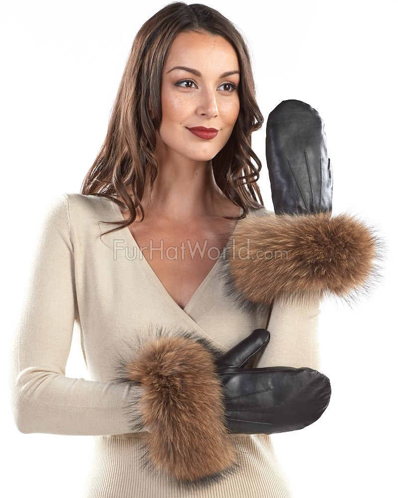Genuine Leather Mittens with Wide Finn Raccoon Cuffs