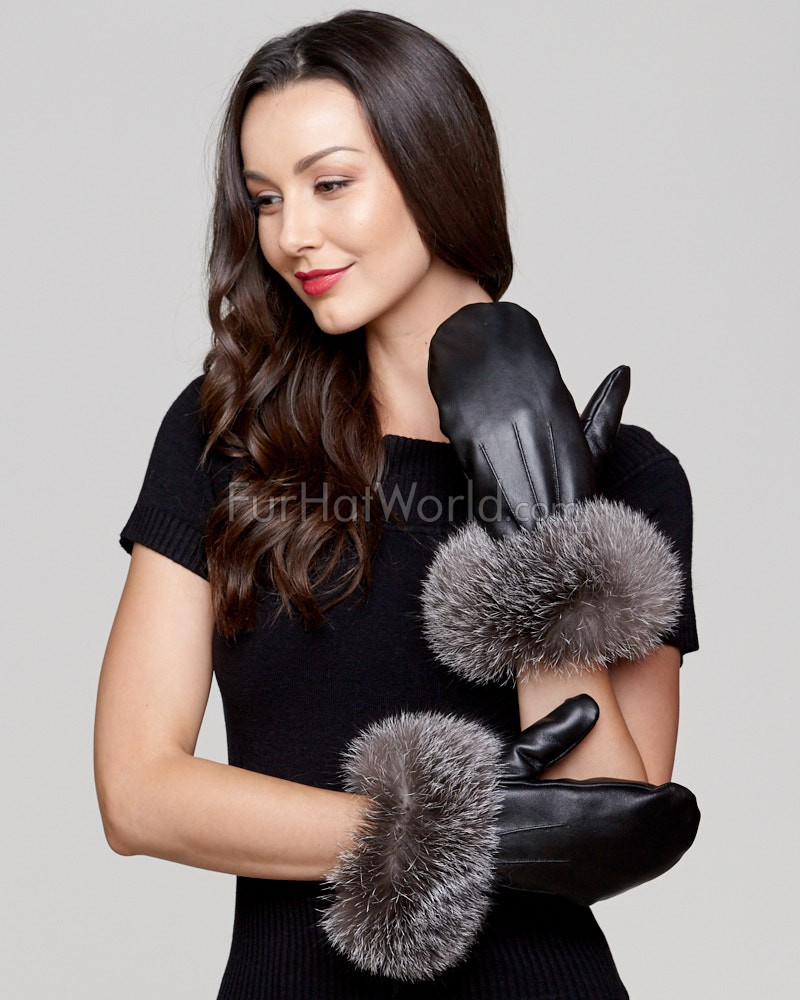 Genuine Leather Mittens with Wide Fox Fur Cuffs - Indigo