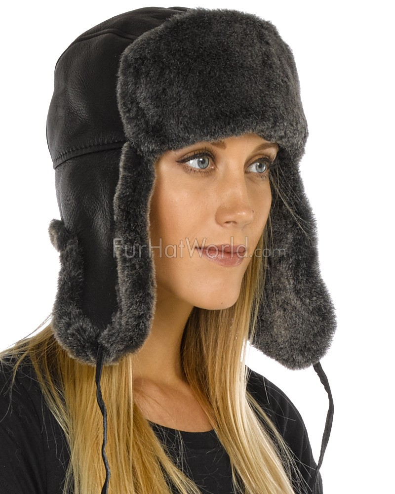 Lady Concorde Napa Leather Shearling Sheepskin Hat in Black