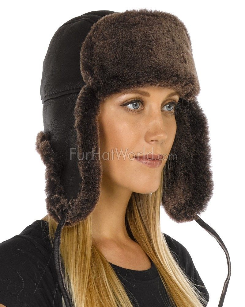 c74e9b12642 Lady Concorde Napa Leather Shearling Sheepskin Hat in Brown