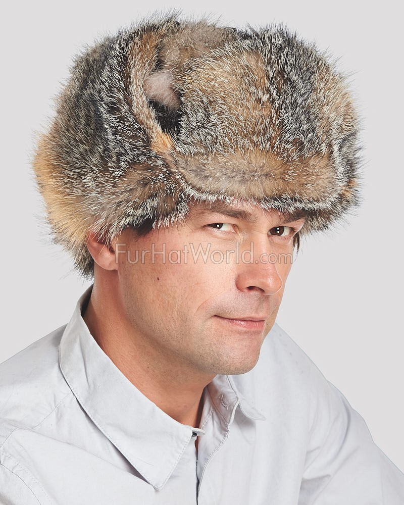 Gray Fox Full Fur Russian Hat for Men