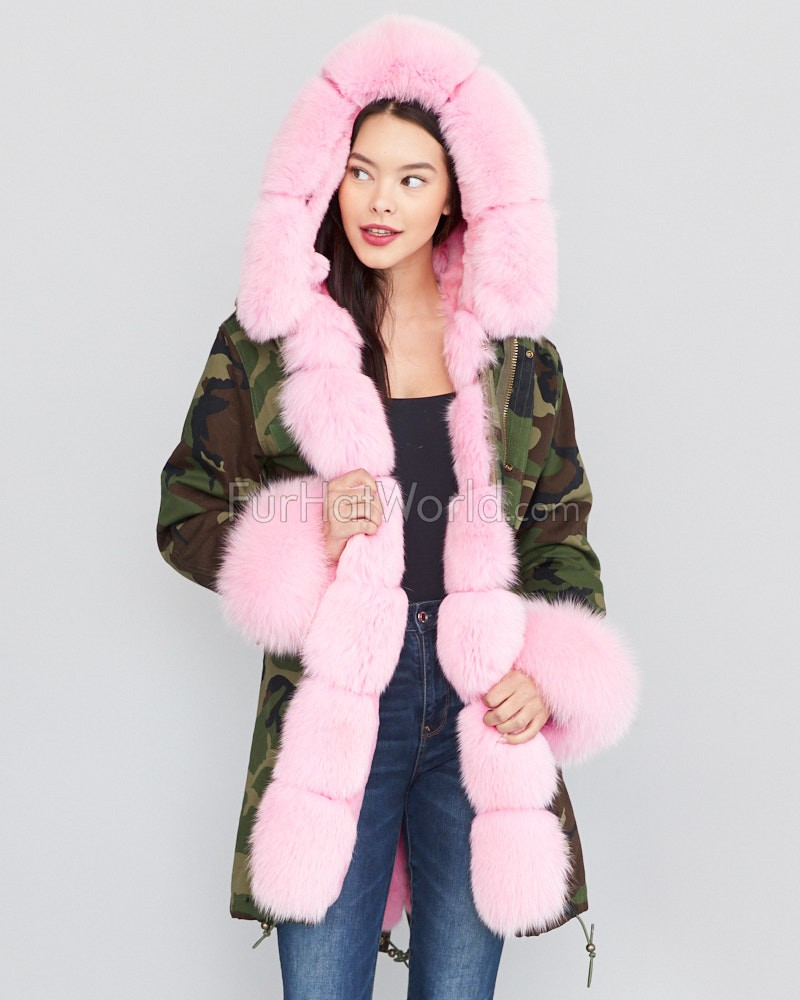 Green Camo Military Parka Coat with Premium Pink Fox Fur Trim