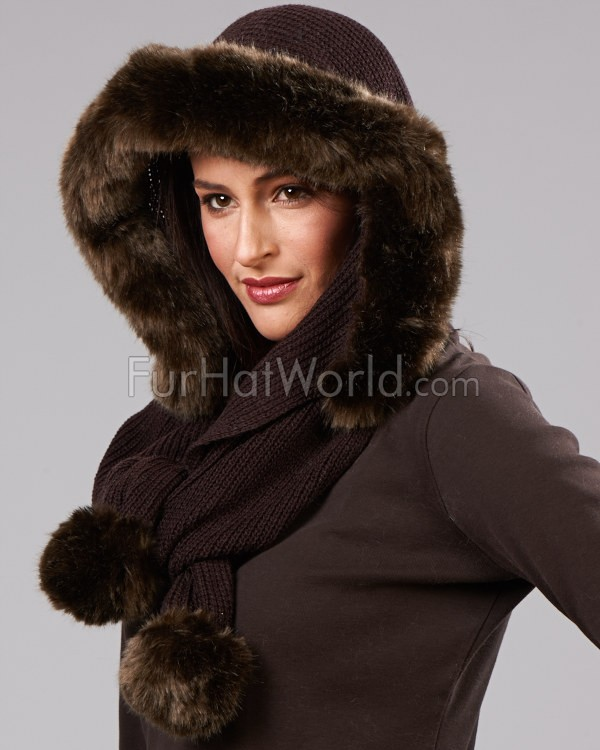 Hood Scarf with Faux Fur Trim - Brown