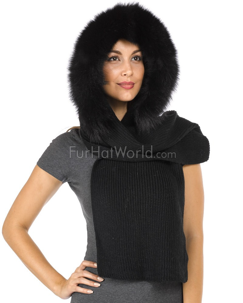 Hood Scarf with Fox Fur Trim - Black