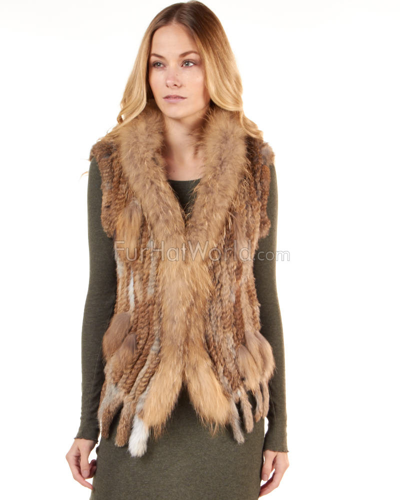 Hooded Rabbit Fur Knitted Vest with Raccoon Fur Trim
