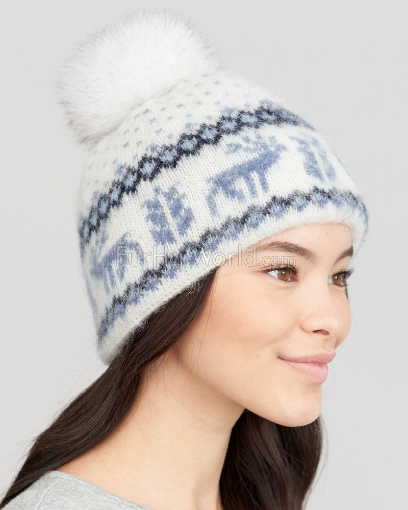 8f93a174 Icelandic Knit Wool Beanie Hat with Blue Fox Pom Pom