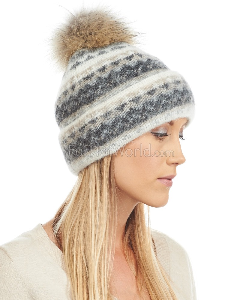 Icelandic Knit Wool Double Cuff Beanie Hat with Coyote Pom Pom