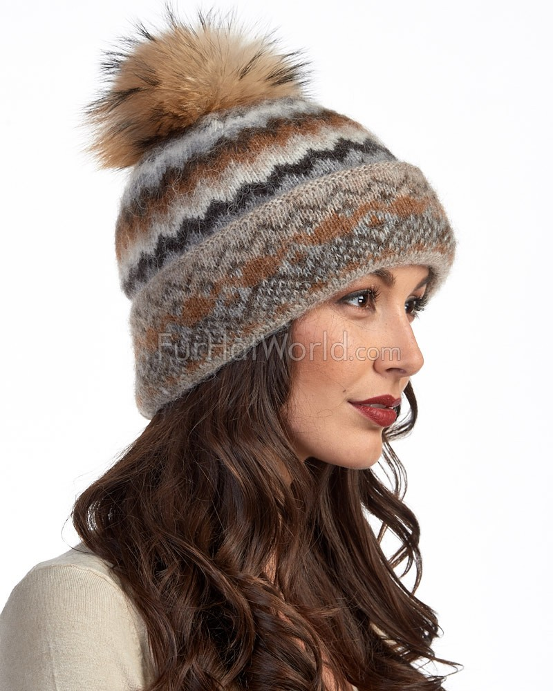 Icelandic Knit Wool Double Cuff Beanie Hat with Finn Raccoon Pom