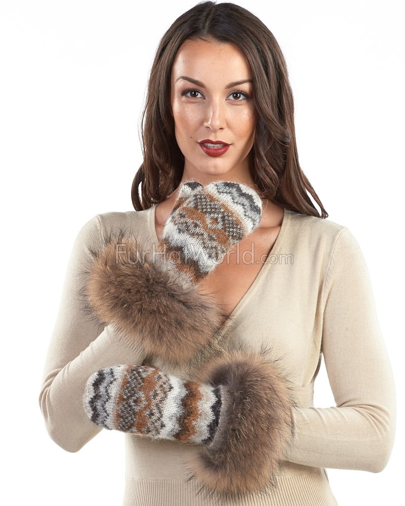 Icelandic Knit Wool Mittens with Finn Raccoon Fur Cuff