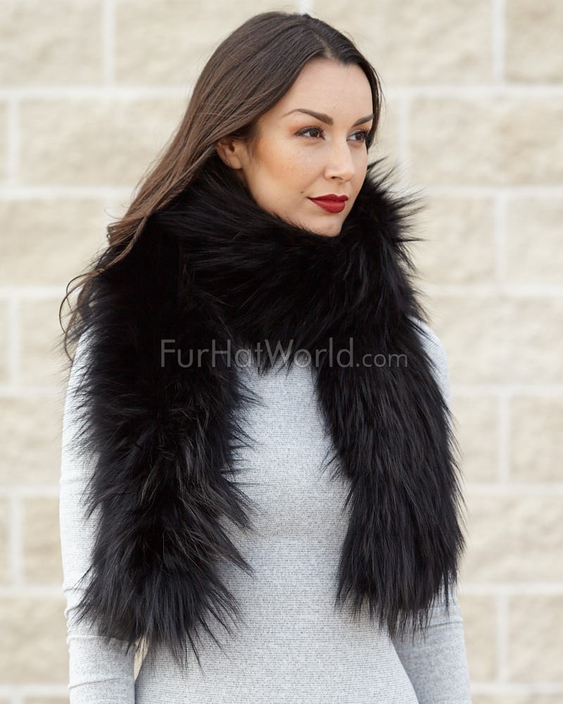 Indra Black Knit Finn Raccoon Fur Scarf