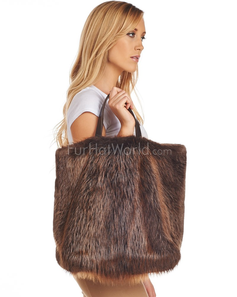 Inez Two-Sided Beaver Fur Tote Bag with Leather Handles
