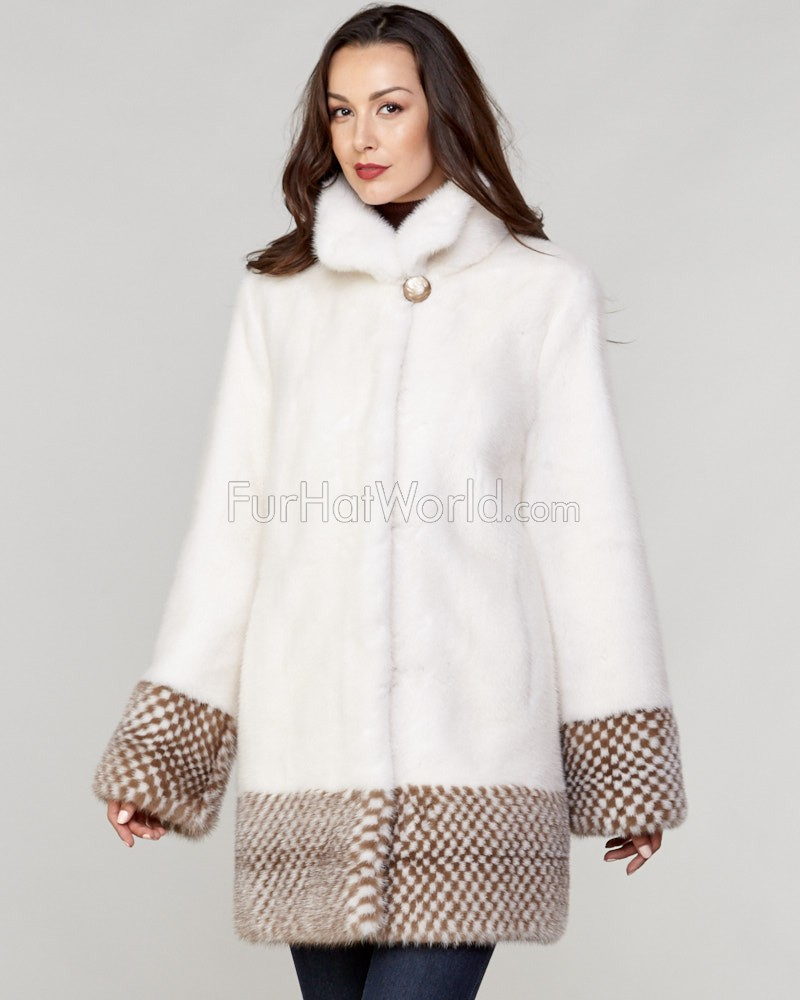 Jazmine Long Hair Mink Fur Checker Pattern Coat in White