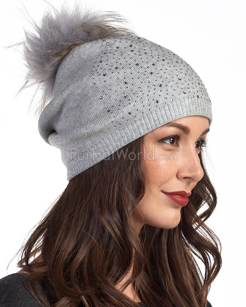 Jewel Slouchy Knit Beanie Hat with Finn Raccoon Pom Pom in Grey ... 4c8eb01a02c
