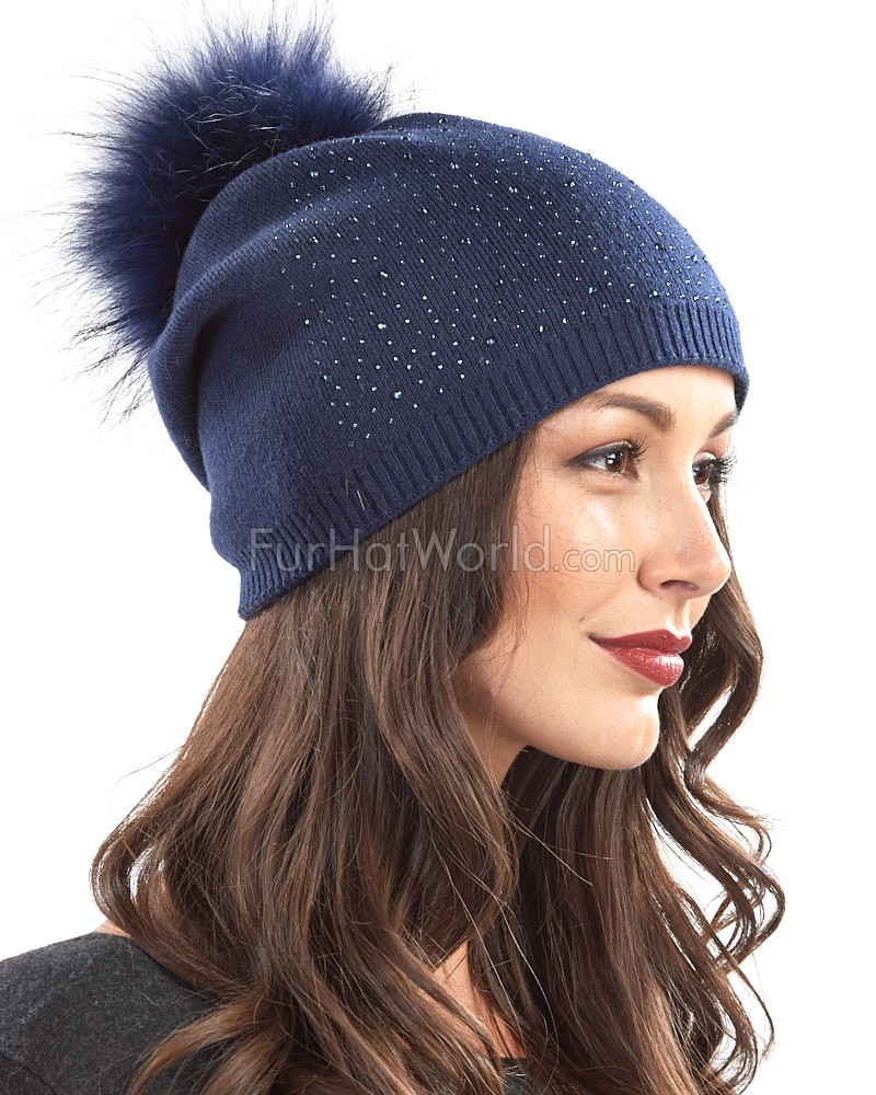 Jewel Slouchy Knit Beanie Hat with Finn Raccoon Pom Pom in Navy