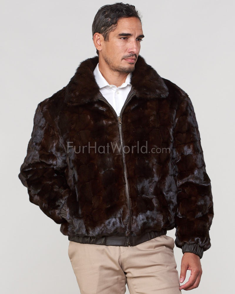 Joey Mink Fur Men's Bomber Jacket Reversible to Leather in Brown
