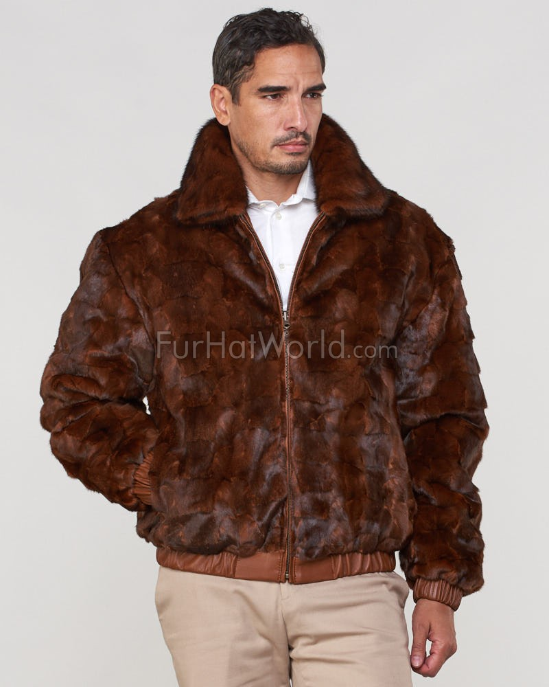 Joey Mink Fur Men's Bomber Jacket Reversible to Leather in Whiskey