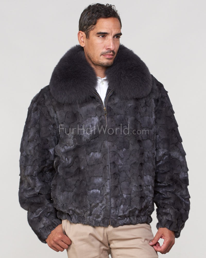 Christian Mosaic Mink Bomber Jacket for Men in Dark Grey