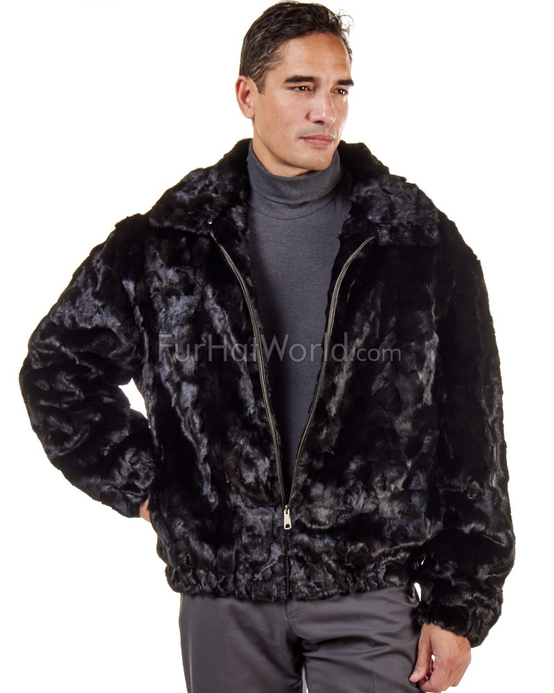 Christian Mosaic Mink Bomber Jacket for Men in Black