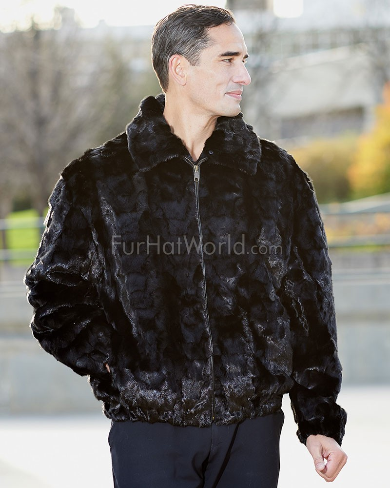 Men's Christian Pieced Mink Bomber Jacket in Black: FurHatWorld