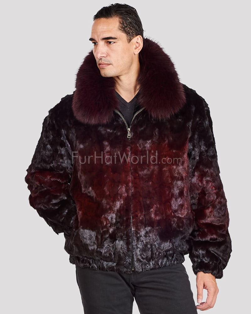 Christian Mosaic Mink Bomber Jacket for Men in Burgundy Ombre