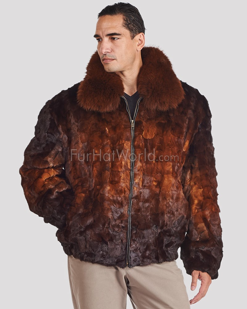 Christian Mosaic Mink Bomber Jacket for Men in Whiskey Ombre