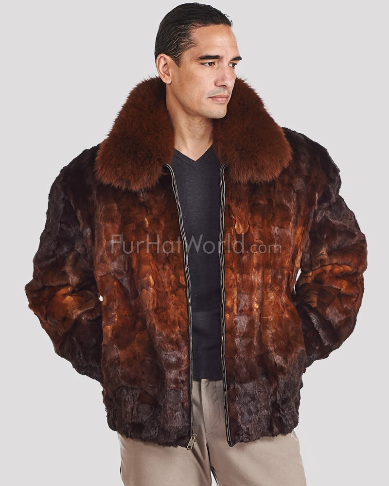 43244bc6f Christian Mosaic Mink Bomber Jacket for Men in Whiskey Ombre