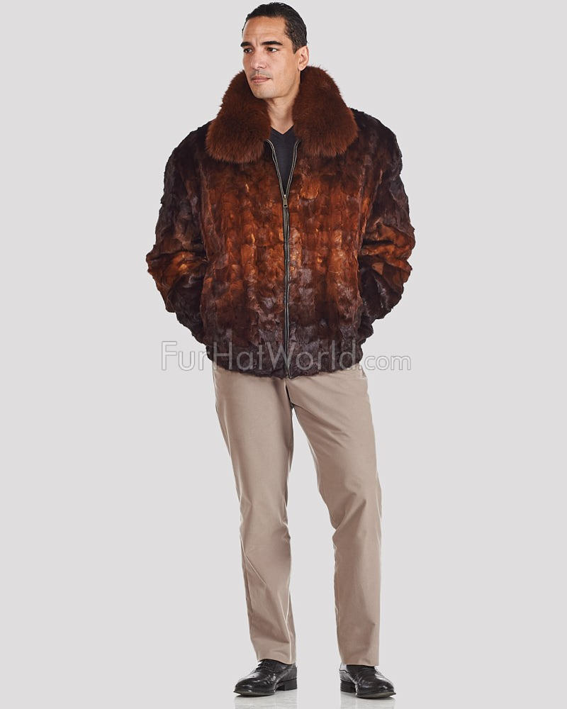 572be4c9cb50 Men's Pieced Mink Bomber Jacket in Whiskey Ombre: FurHatWorld