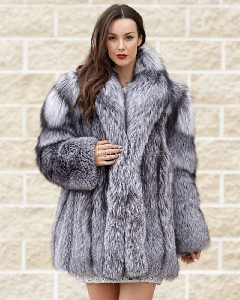 Women's Josephine Silver Fox Fur Stroller Coat: FurHatWorld.com