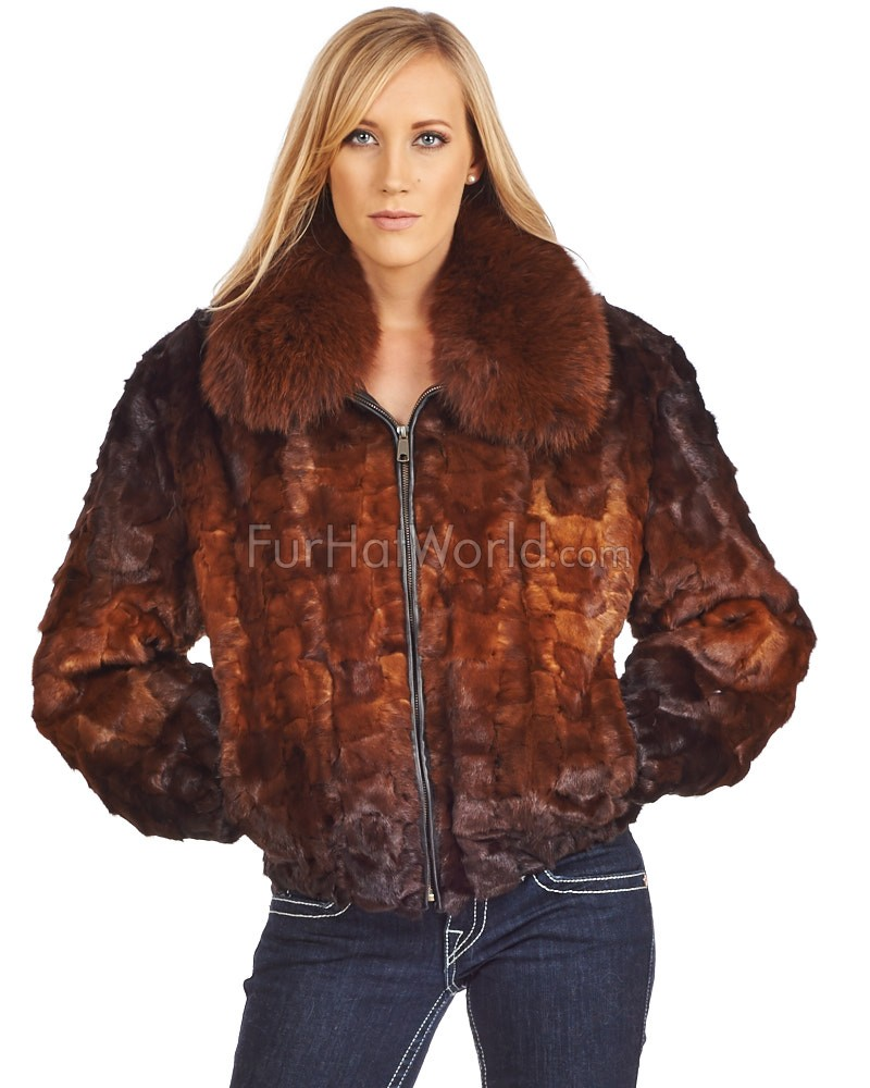 Judy Mosaic Pieced Mink Bomber Jacket in Whiskey Ombre